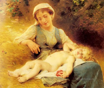 Sleeping Art - A Mother With Her Sleeping Child Leon Bazile Perrault